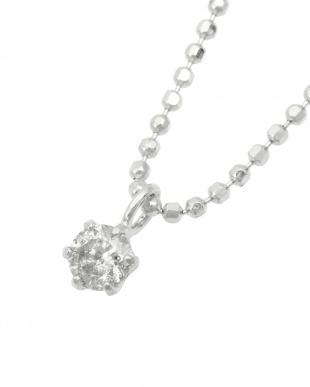 Pt999 純プラチナ 天然ダイヤモンド 0.1ct  6本爪ネックレス(チェーンSV)見る