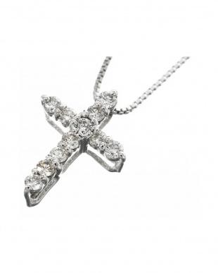 PT プラチナ 天然ダイヤモンド 0.1ct クロス ネックレス見る