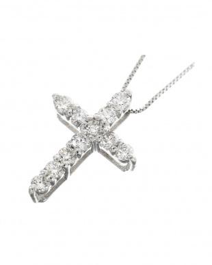 PT プラチナ 天然ダイヤモンド 0.3ct クロス ネックレス見る