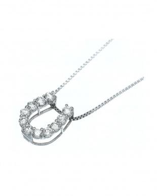 PT プラチナ 天然ダイヤモンド 0.1ct 馬蹄 ネックレス見る