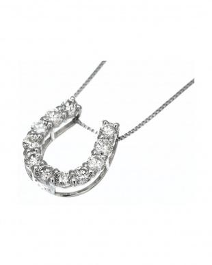 PT プラチナ 天然ダイヤモンド 0.3ct 馬蹄 ネックレス見る