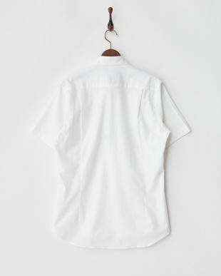 ホワイト BEZメンアサ混ワイドカラーシャツ見る