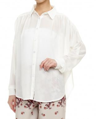 WHITE  ギャザーSシースルーシャツ見る