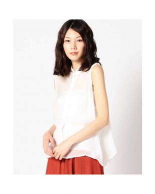 WHITE イレギュラーヘムノースリーブシャツ R/B(バイイング)見る