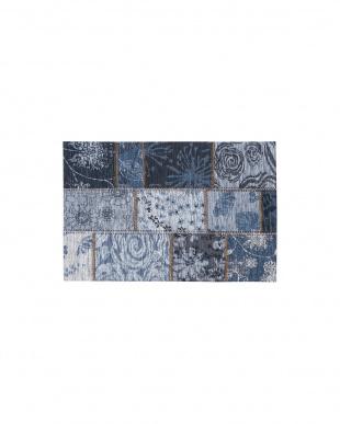 ブルー  ウネモ 50×80 ベルギー製ゴブラン織マット見る