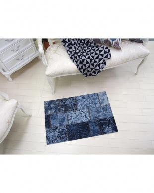 ブルー  ウネモ 60×90 ベルギー製ゴブラン織マット見る