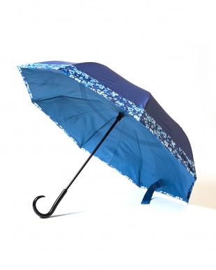 ブルー×フラワー  2重傘 circus(サーカス) 晴雨兼用見る