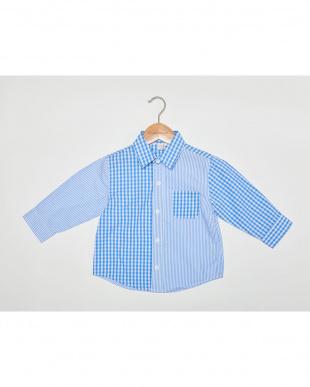 BLUE  チェックパッチワーク7分袖シャツ見る