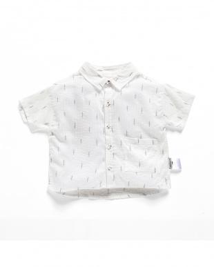 WHITE プリント半袖シャツ見る