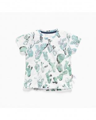 WHITE サボテンプリントTシャツ見る