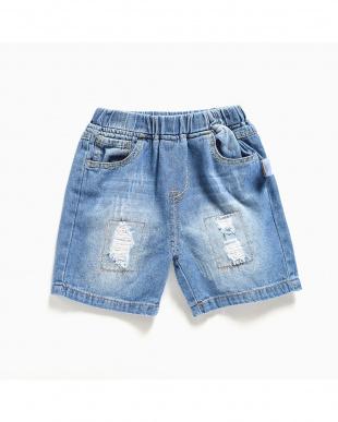BLUE デニムショート丈パンツ見る