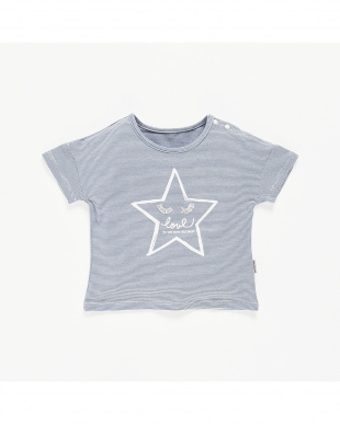 BLUE 星プリントボーダーTシャツ見る