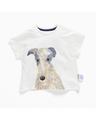 WHITE 犬プリントTシャツ見る