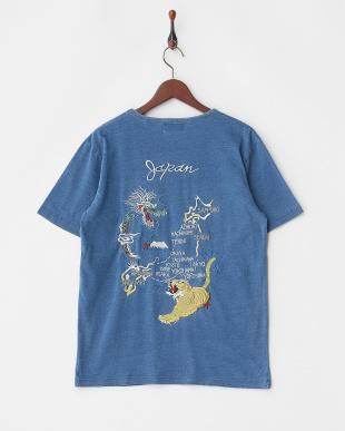 VINTAGE WASH インディゴ天竺刺繍Tシャツ(MAP)見る