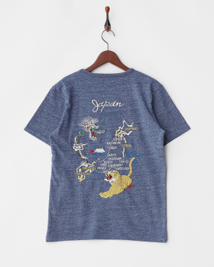 BLUE  インディゴ天竺刺繍Tシャツ(MAP)見る