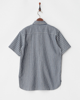NAVY ワッペン付きシャンブレーワークシャツ見る