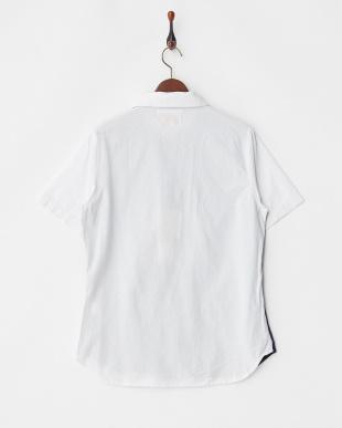 NAVY カットソー切替オープンカラーシャツ見る