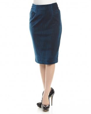 BLUE  ストライプベロアスカート見る