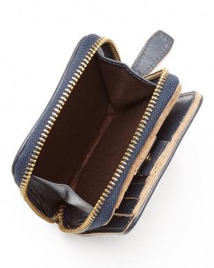 NV(ネイビー)  ヌメ革カウレザーオイル加工仕上げ2つ折りジップウォレット/財布見る