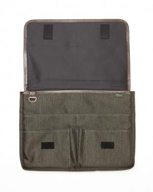 OLV(オリーブ)  日本製 ナイロン×ポリエステル混紡ツイル+ヌメ革ドキュメントケース/クラッチバッグ見る