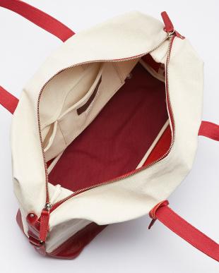 RE(レッド) 日本製 Herdmans社リネンコットンキャンバス×型押しヌメ革ボストンバッグ見る