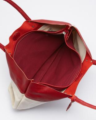 RE(レッド) 日本製 Herdmans社リネンコットンキャンバス×型押しヌメ革トートバッグ/取り外し可能なバッグインバッグ付き見る