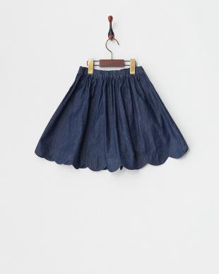 ブルー 裾スカラップデニムスカート(140以上)見る