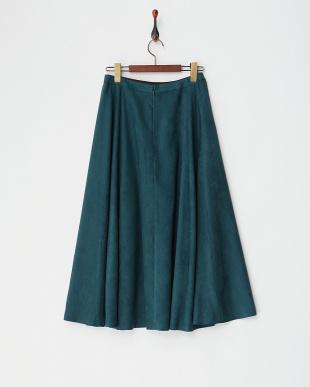 グリーン  フェイクスエードフレアスカート見る