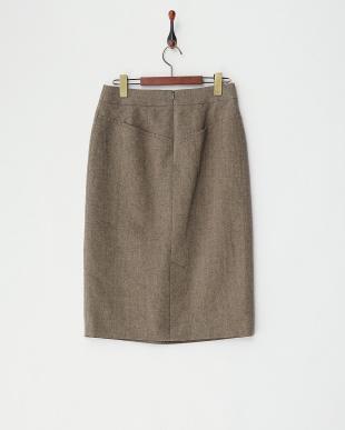 ダークグレージュ  ウールコットンタイトスカート見る