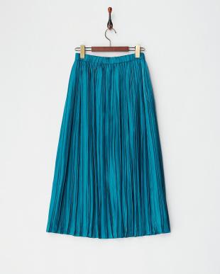 グリーン  サテンプリーツスカート見る