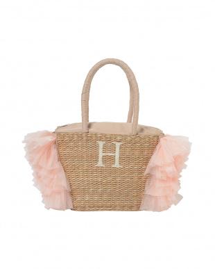 ピンク[H]  イニシャル刺繍入りチュールフリル保冷トート見る