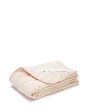 ピンク  綿ガーゼ 敷きパッド 100×205cm見る