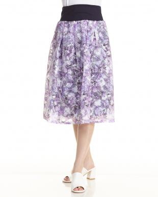 ブルー  花プリントスカート見る