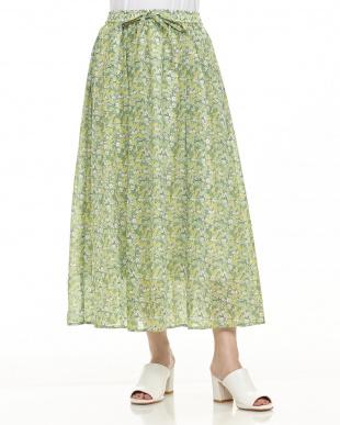 ライトグリーン  フラワープリントスカート見る