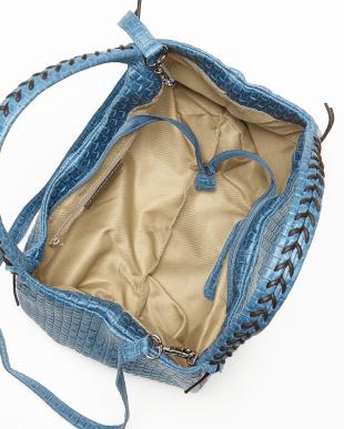 ブルー  持ち手編みこみメッシュ調バッグ見る