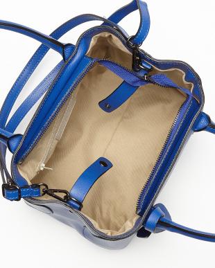 ブルー  ショルダー付きシンプルハンドバッグ見る