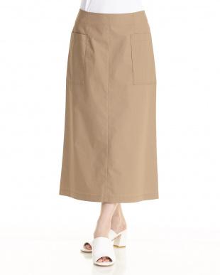 キャメル  サイドポケットスカート見る