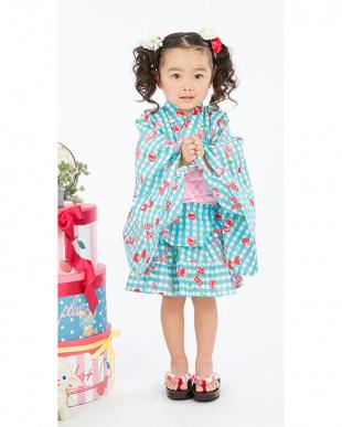 ブルー系 sahoコラボ さくらんぼ&リボン&チェック ドレス浴衣+帯見る