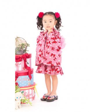 ピンク系 リボン&ドット調 ドレス浴衣+帯見る