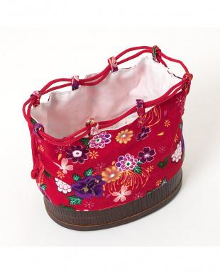 レッド系 花&蝶々 子供用かご巾着 ラウンドタイプ見る