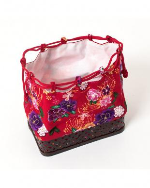 レッド系 花&蝶々 子供用かご巾着 スクエアタイプ見る