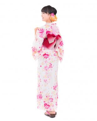 ホワイト系 小桜&ほんのり格子柄 浴衣+帯+下駄 WOMEN見る