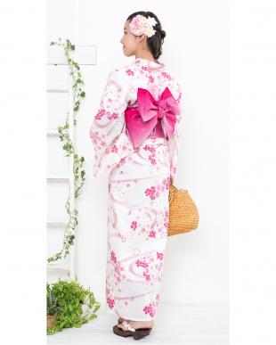 ホワイト系 桜&流水 浴衣+帯+下駄 WOMEN見る