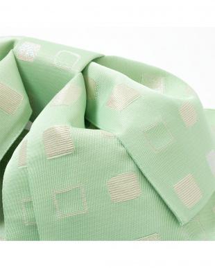 ライムグリーン系 四角柄デザイン 造り帯(5枚羽)|WOMEN見る
