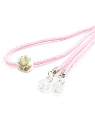 ピンク系 花風デザイン 転写玉飾り紐|WOMEN見る