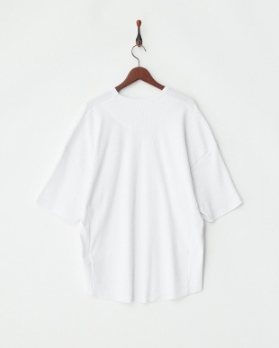 ホワイト  サイド切替ワッフルTシャツ見る