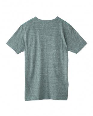 グリーンモク 杢調VネックTシャツ見る