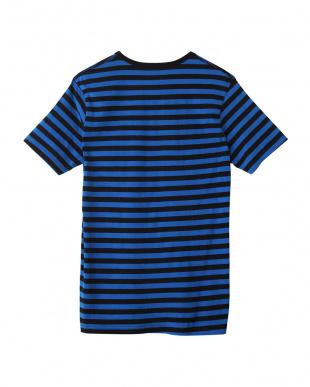 ダークブルー  ボーダー ヘンリーネックTシャツ見る