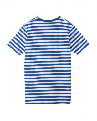 ネービーブルー  ボーダー ヘンリーネックTシャツ見る