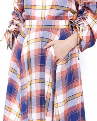ネイビー  マドラスチェックフレアスカート見る